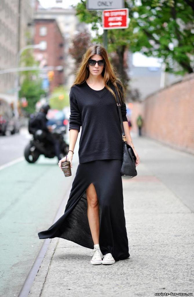 Слипоны с длинным платьем